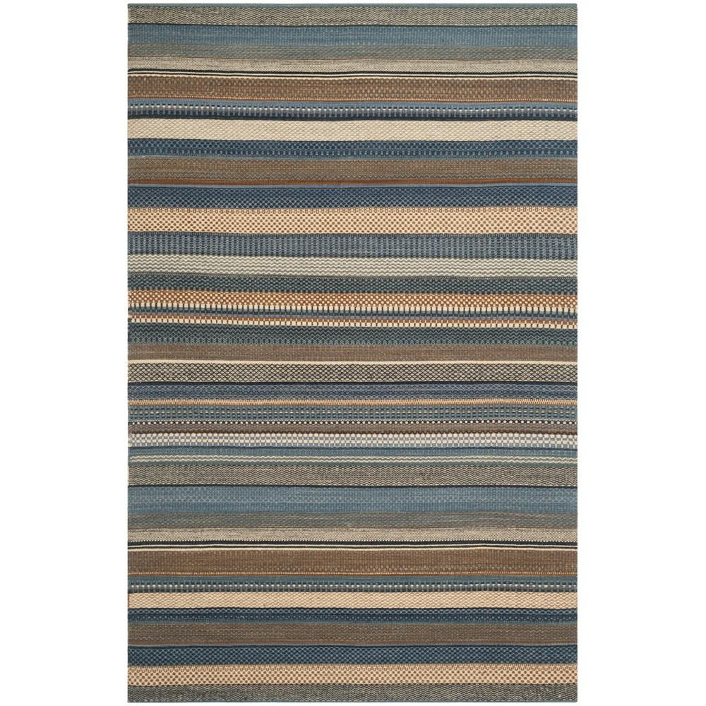 6'X9' Stripe Woven Area Rug Blue - Safavieh