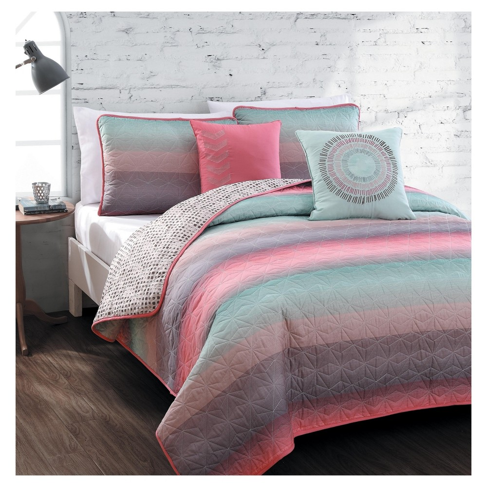 Coral & Blue Cypress Quilt Set (King) 5pc, Pink