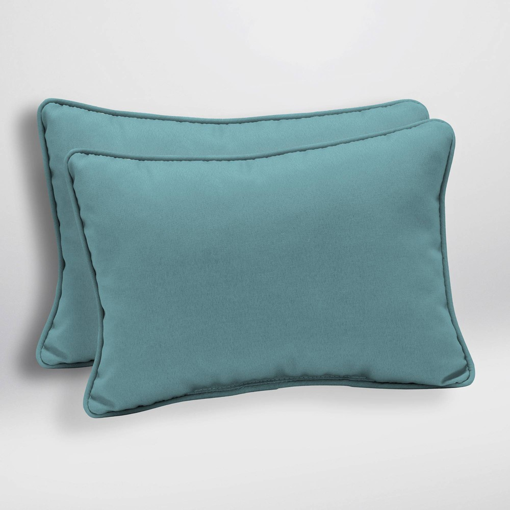 Image of 2pk Canvas Texture Oversized Outdoor Lumbar Pillows Blue - Arden Selections