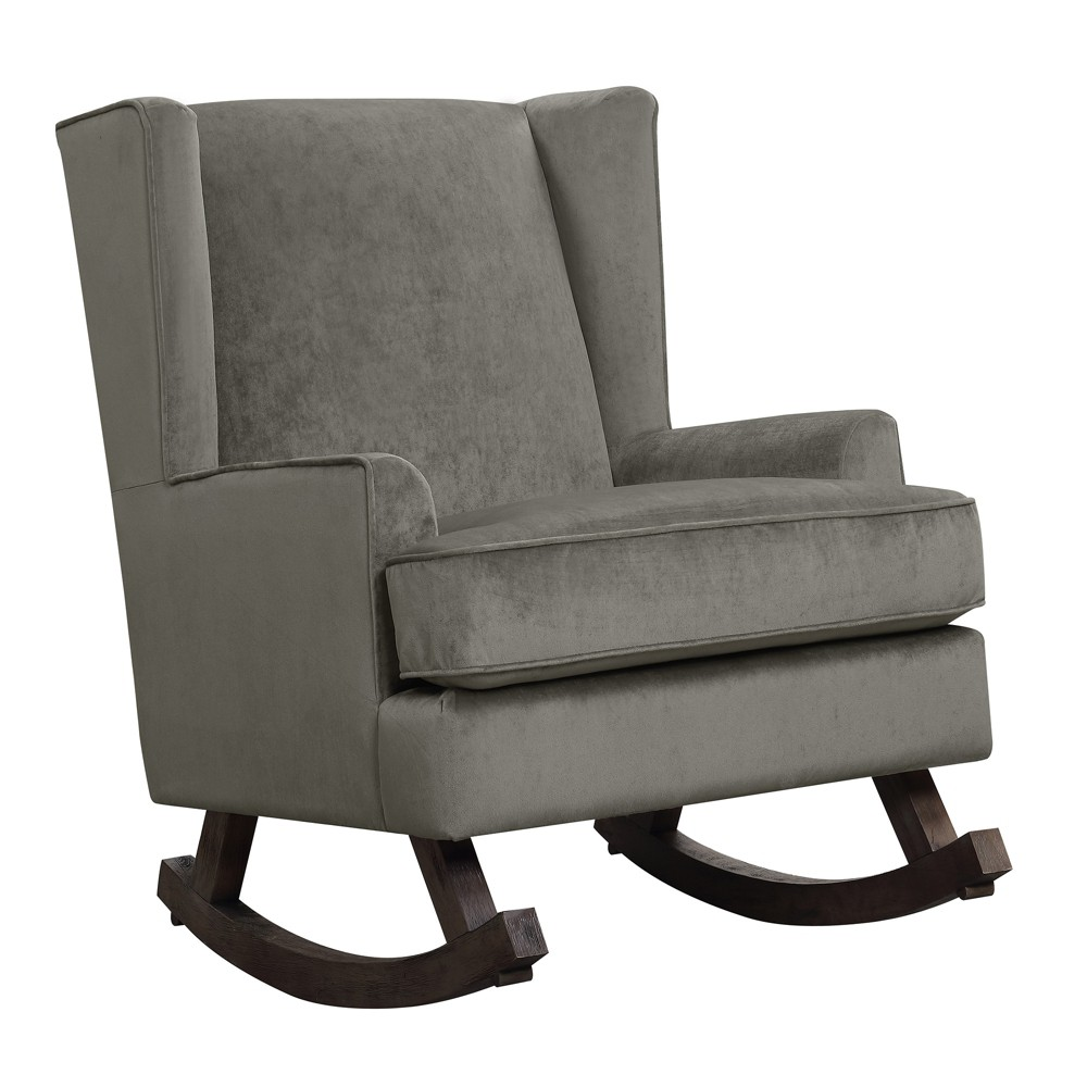 Lily Rocker Granite - Picket House Furnishings The Picket House Furnishings Lily Glider Chair will rock your little one to sleep! The super soft fabric of this chair feels great to the touch and will provide comfort while you rest in this rocker. Straight edge arms and wingback design provide a sleek and contemporary look. The wooden glide base brings a modern touch to the overall look of this glider chair. Color: Granite. Gender: Unisex. Pattern: Solid.