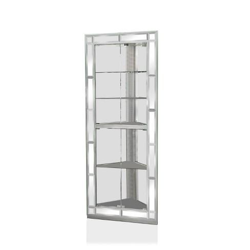 Racca Corner Design Curio Cabinet, White Corner Curio Cabinet With Glass Doors