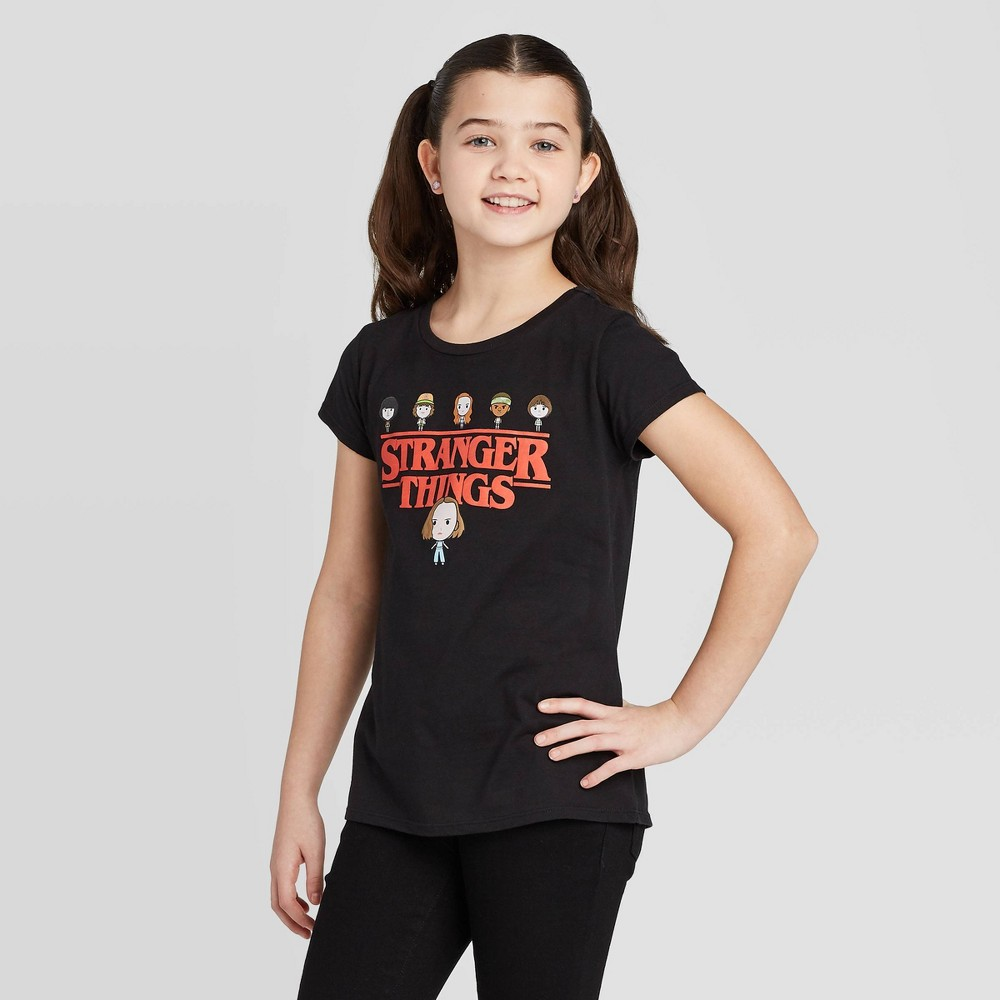 Image of Girls' Netflix Stranger Things Graphic T-Shirt - Black, Girl's, Size: Large