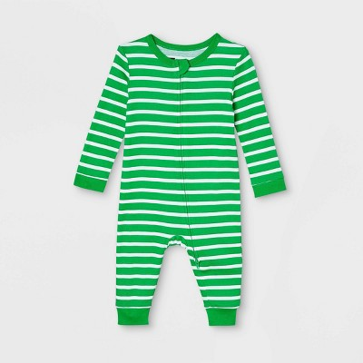 Baby Striped 100% Cotton Matching Family Pajamas Union Suit - Green