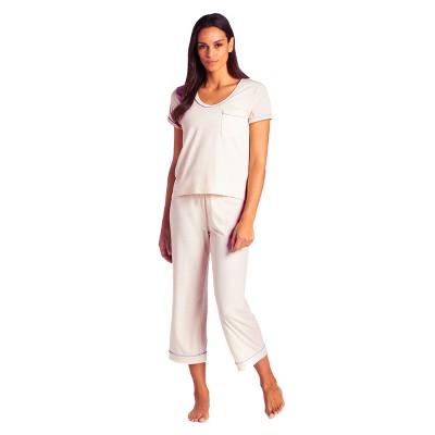Softies Women's Short Sleeve Capri-Length PJ Set with Contrast Piping