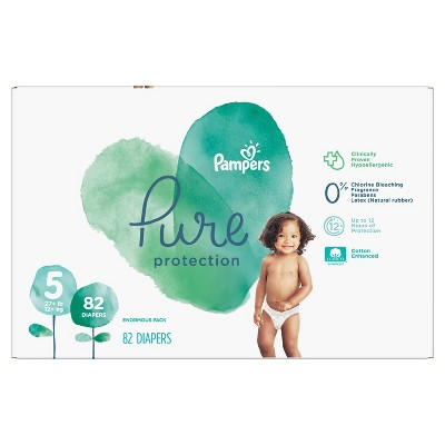 Pampers Pure Protection Disposable Diapers Enormous Pack - Size 5 (82ct)
