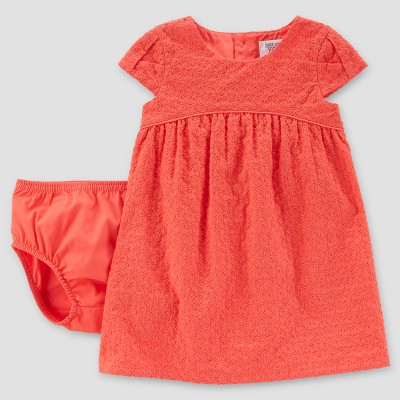 Baby Girls' Eyelet Dress - Just One You® made by carter's Coral 6M
