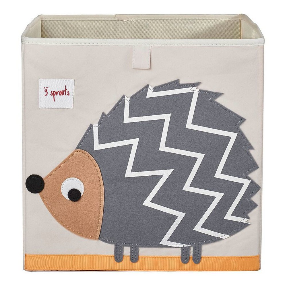 Image of Hedgehog Fabric Cube Toy Storage Bin - 3 Sprouts