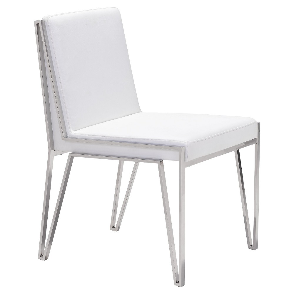 Elegant Stainless Steel Upholstered Dining Chair (Set of 2) - White - ZM Home