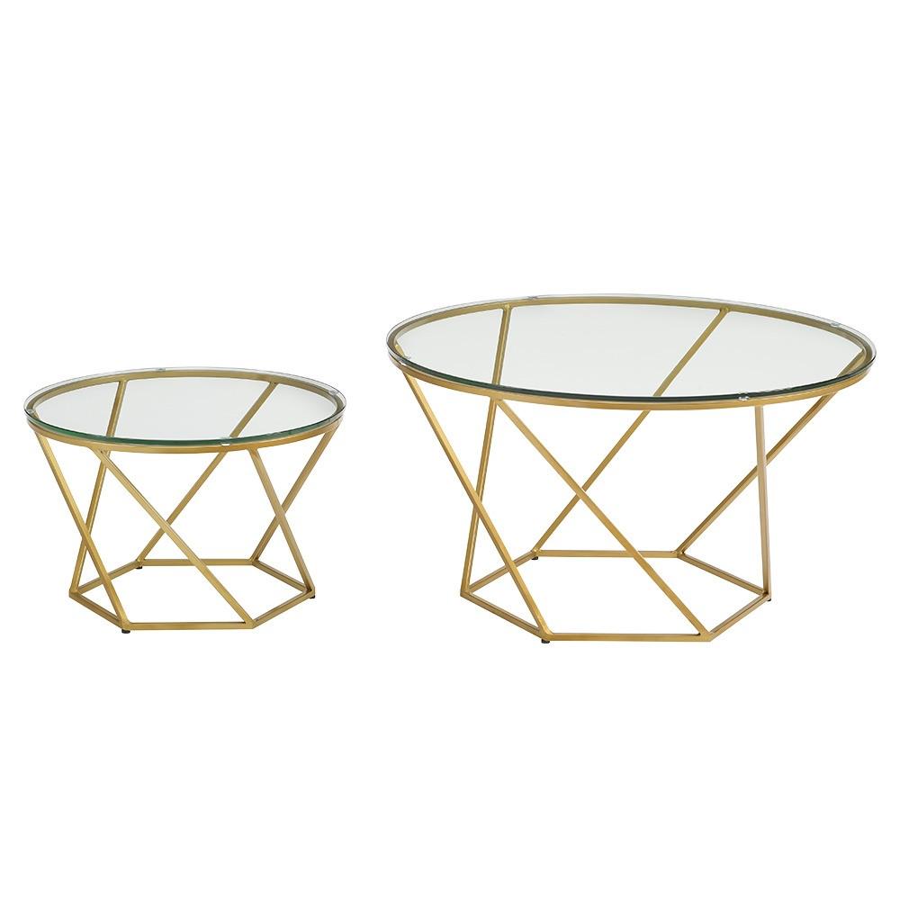 Geometric Glass Nesting Coffee Tables - Gold - Saracina Home