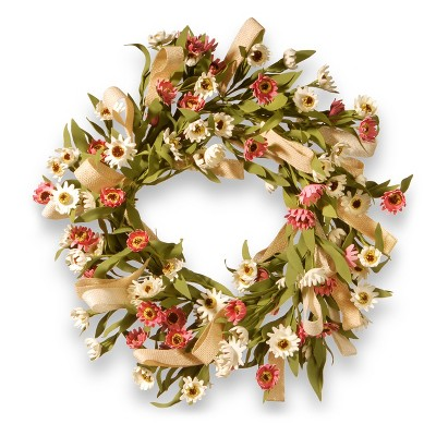 Artificial Small Sunflower Wreath Pink 22  - National Tree Company®