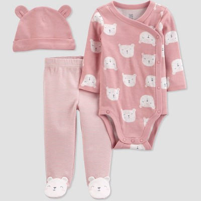 Baby Girls' 3pc Bears Top and Bottom Set with Hat - Just One You® made by carter's Pink/White Newborn