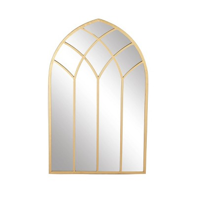 Modern Iron Framed Arched Window Wall Mirror Gold - Olivia & May