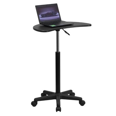 Adjustable Mobile Laptop Computer Desk with Black Top - Flash Furniture - image 1 of 4
