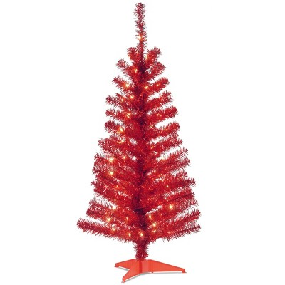 4ft National Christmas Tree Company Red Tinsel Artificial Christmas Tree 70ct Clear