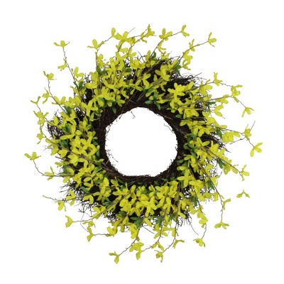 Northlight Forsythia and Grapevine Artificial Floral Wreath, Yellow 24-Inch
