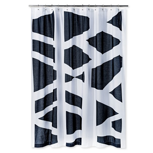 Geometric Shower Curtain Black/White - AiR® - image 1 of 1
