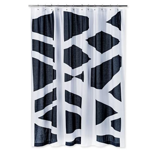 Geometric Shower Curtain Black White