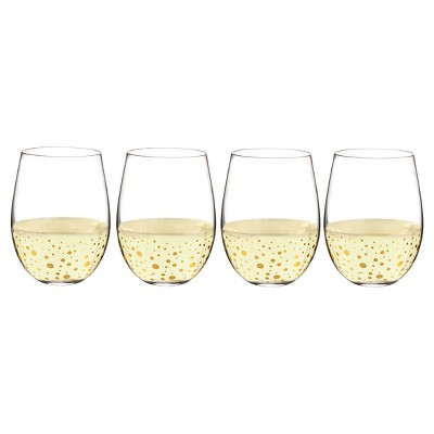 Cathy's Concepts® 4pc Gold Dot Stemless Wine Glasses