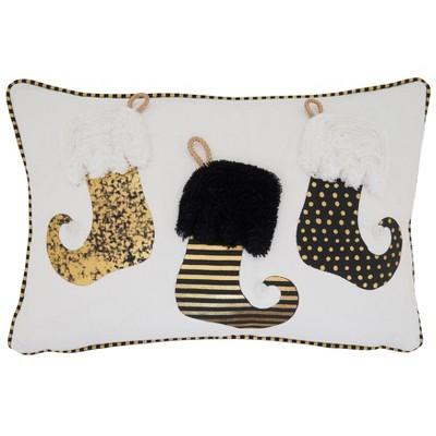 Stockings Holiday Poly Filled Throw Pillow - Saro Lifestyle