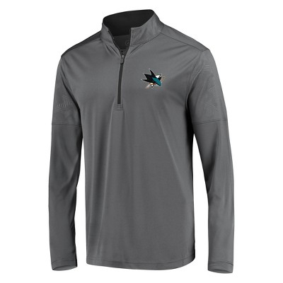 NHL San Jose Sharks Men's Defender Embossed 1/4 Zip Sweatshirt - Gray M