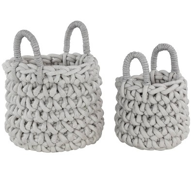 Olivia & May Set of 2 Large Round Handmade Storage Baskets with Mesh Detail Gray