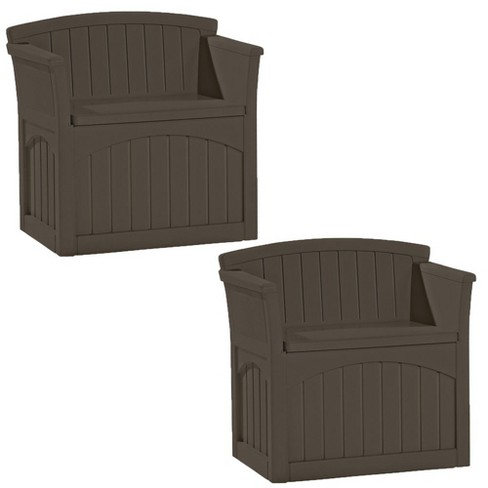 Suncast 31 Gallon Patio Seat Outdoor Storage And Bench Chair Java 2 Pack Target