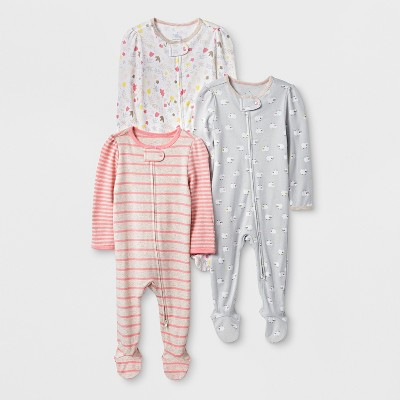 Baby Girls' 3pk Meadow Zip Sleep 'N Play - Cloud Island™ Yellow/Coral 0-3M