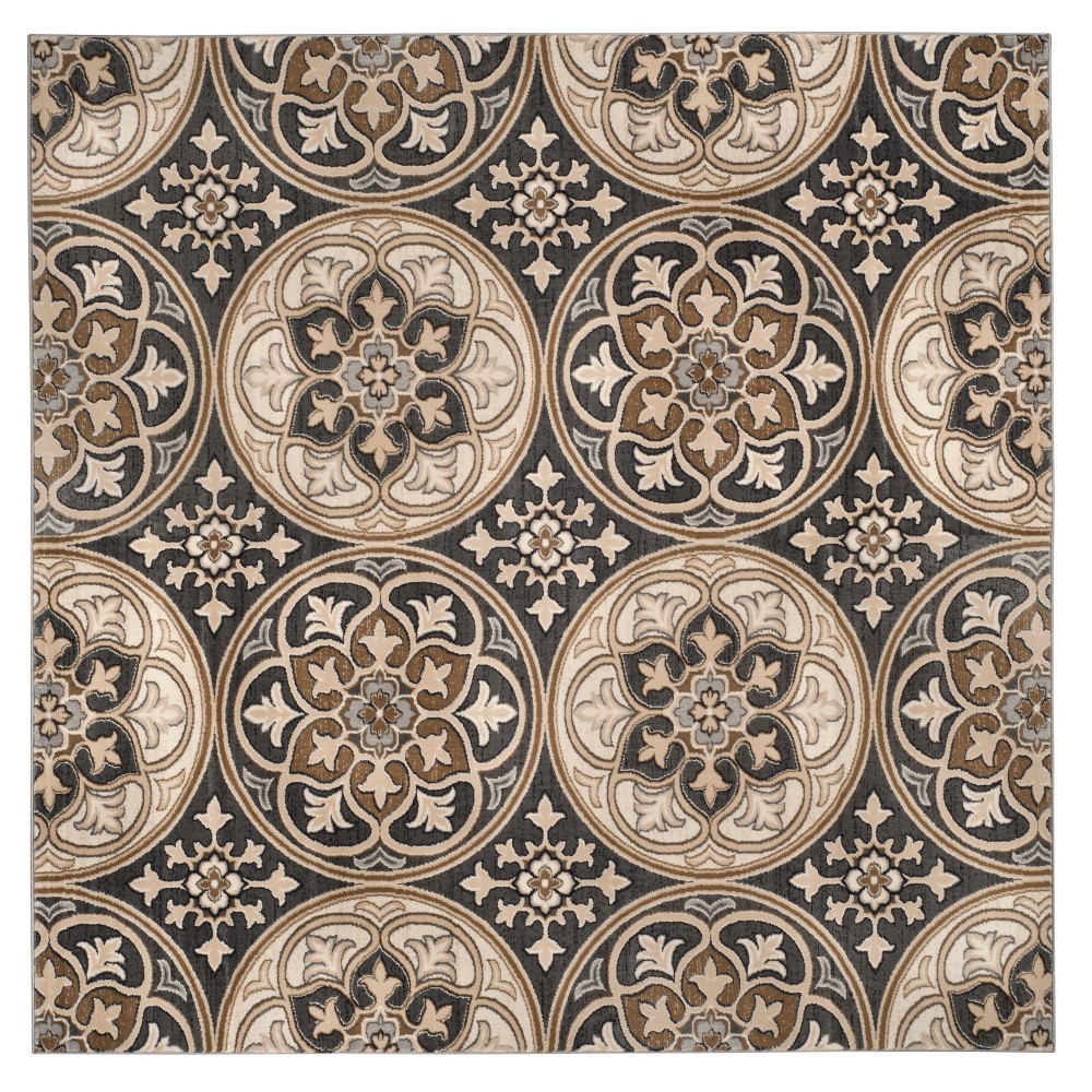Light Gray/Beige Medallion Loomed Square Area Rug 8'X8' - Safavieh