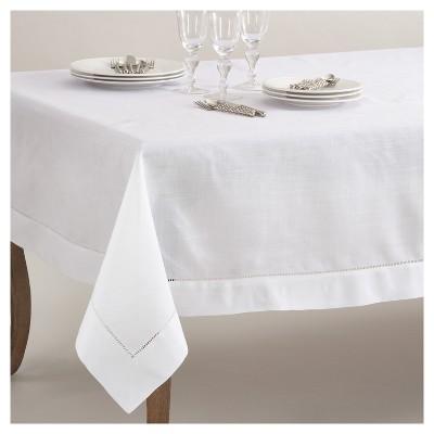 White Classic Hemstitch Border Design Tablecloth (70 x104 )- Saro Lifestyle®