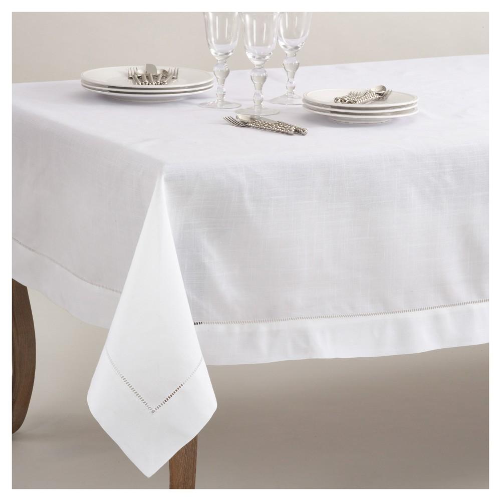 "White Classic Hemstitch Border Design Tablecloth (70""x104"") Saro Lifestyle"