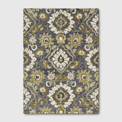 5'x7' Floral Tufted Area Rug Gray - Threshold™