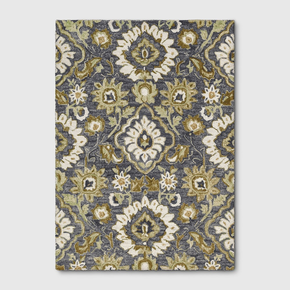 5'x7' Floral Tufted Area Rug Gray - Threshold