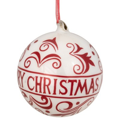 """Northlight 6"""" Red and White Merry Christmas Glass Ball Ornament"""