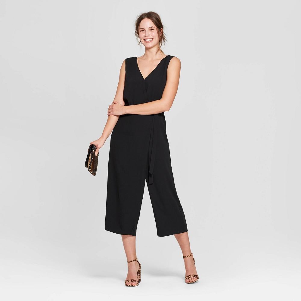 Women's Sleeveless V-Neck Jumpsuit - A New Day Black M