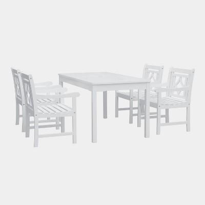 Bradley 5pc Rectangle Wood Outdoor Patio Dining Set - White - Vifah