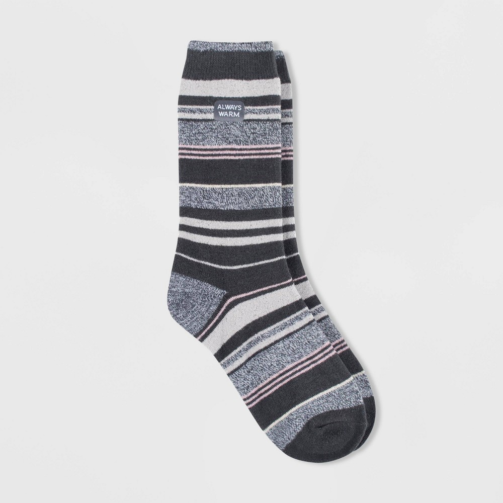 Image of Always Warm by Heat Holders Women's Striped Crew Socks - Charcoal 5-9, Size: Small, Grey