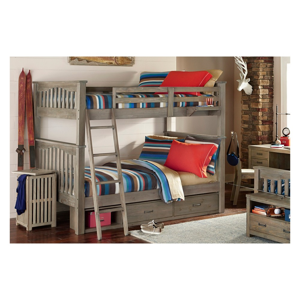 Full Over Full Highlands Harper Bunk Bed with 2 Storage Units and Hanging Nightstand Driftwood (Brown) - Hillsdale Furniture