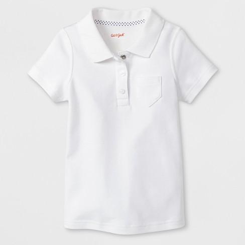 6b68138f1 Toddler Girls' Adaptive Short Sleeve Uniform Polo Shirt - Cat & Jack™ White