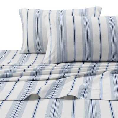 Queen Printed Pattern Extra Deep Pocket Heavyweight Flannel Sheet Set Stripes - Tribeca Living