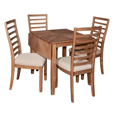 5pc Caleb Dining Set Red Oak