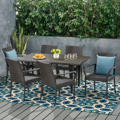 Luxington 7pc Wicker Contemporary Dining Set MultiBrown - Christopher Knight Home