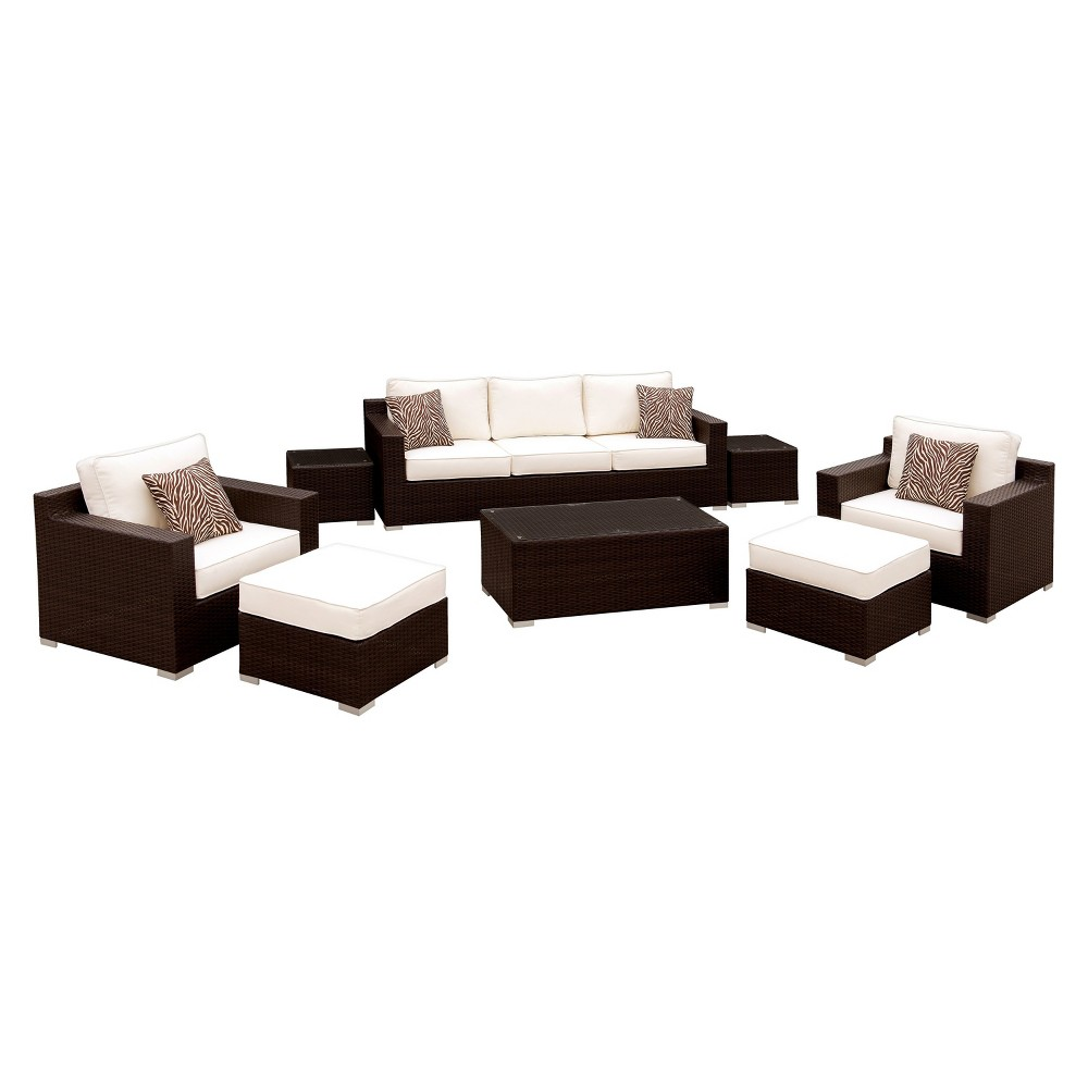 Image of 8pc Ainsley All Weather Wicker Patio Conversation Set Brown/White - miBasics