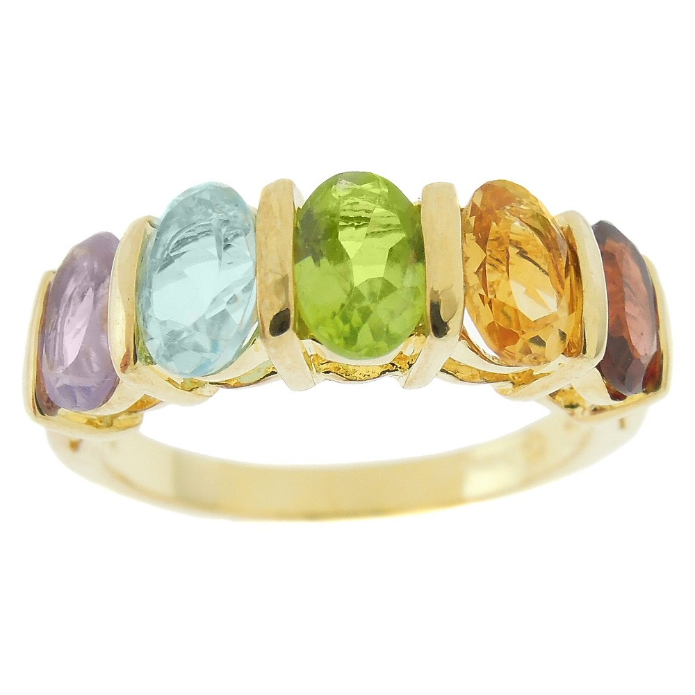 2.50 CT.T.W. Oval Cut Multi-Gemstone 5-Stone Prong Set Ring Gold Plated (Size 9), Multicolored