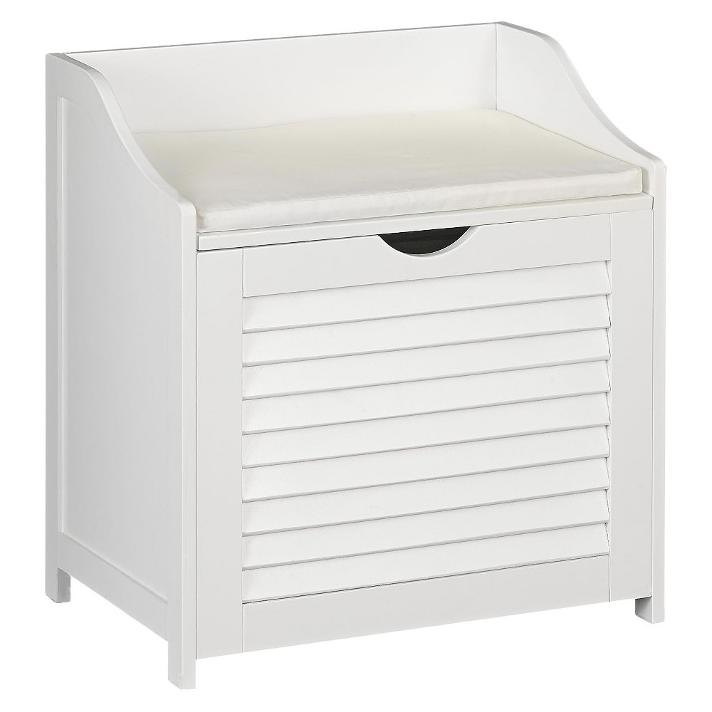 Image of Design Trends Bench Hamper with Shutter Front and Foam Cushion - White