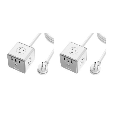 Huntkey 2 x SMC407 Surge Protecting Multiport Electrical 5-Foot Extension Cord Outlet Adapter Cube with 4 AC Plugs & 3 USB Ports, White/Grey (2 Pack)