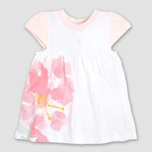 d6a60d500203 Burt s Bees Baby Girls  Organic Cotton Watercolor Bloom Dress ...