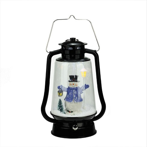 "Northlight 13.5"" Black Lighted Musical Snowman Snowing Christmas Table Top Lantern - image 1 of 4"