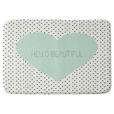 Allyson Johnson Hello Beautiful Heart Cushion Bath Mat Mint - Deny Designs