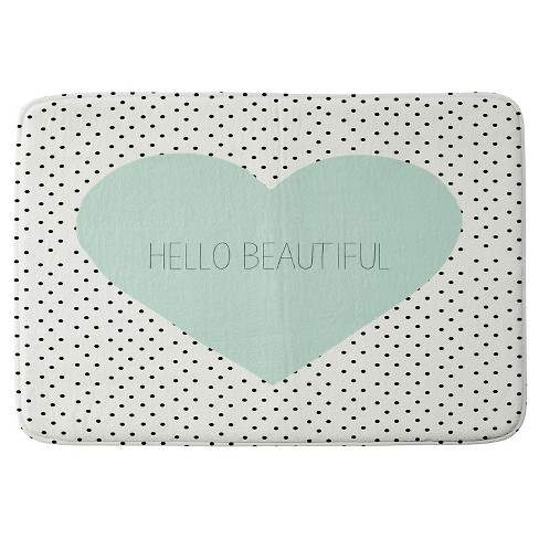 Allyson Johnson Hello Beautiful Heart Cushion Bath Mat Mint - Deny Designs - image 1 of 4