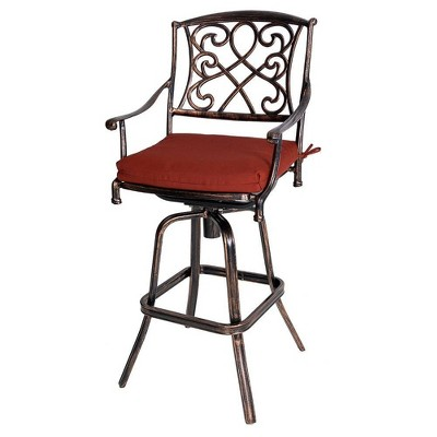 Outdoor Counter Height Cast Aluminum Swivel Bar Stool with Sunbrella Cushion - Red - Crestlive Products